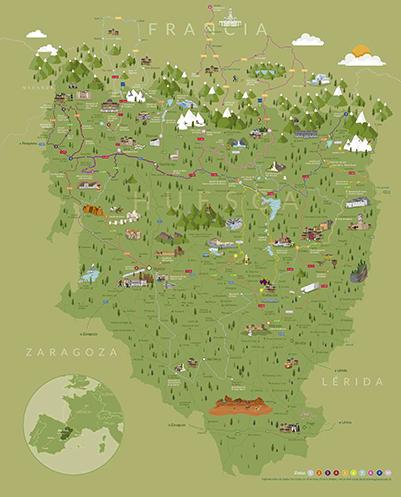 Mapa de Huesca la Magia en Ruta